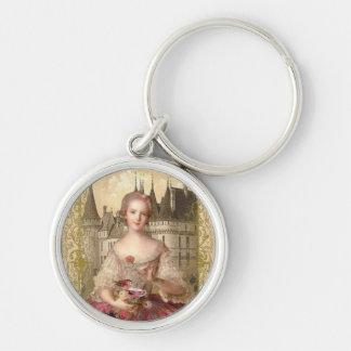 Orange Rococo Round Keychain