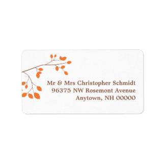 Orange Romance RSVP Address Labels