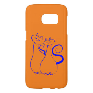 Orange Romantic Cats Couple Drawing Minimalist Samsung Galaxy S7 Case