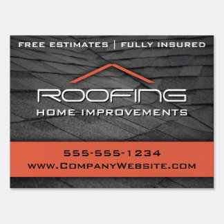 Orange Roofing Professional Yard Sign Medium