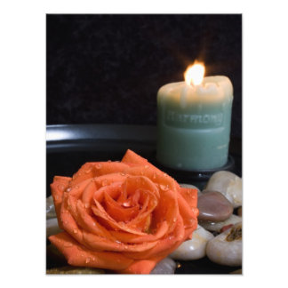 Orange Rose and Harmony Candle Photo Print