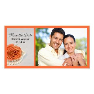 Orange Rose and White Pearls Wedding Save the Date Custom Photo Card