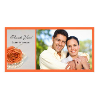 Orange Rose and White Pearls Wedding Thank You Personalized Photo Card