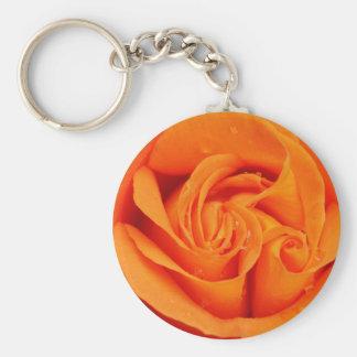 Orange Rose Blossom Basic Round Button Keychain