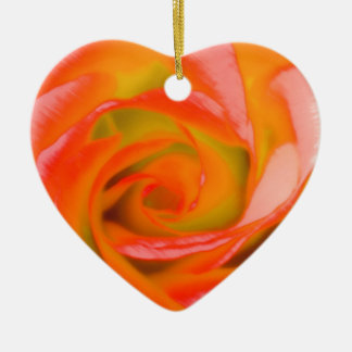 Orange Rose Close-up Ceramic Heart Ornament