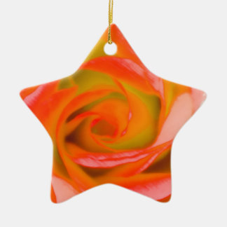 Orange Rose Close-up Ceramic Star Ornament
