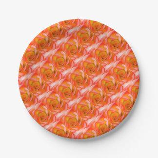 Orange Rose Close-up Paper Plate