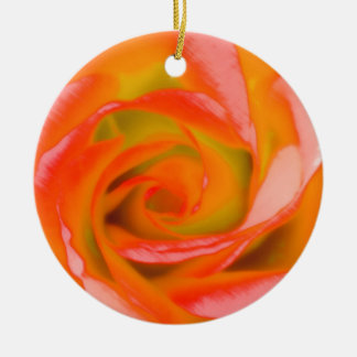 Orange Rose Close-up Round Ceramic Ornament