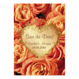 Orange Rose Floral Wedding Save the Date Business Card Template