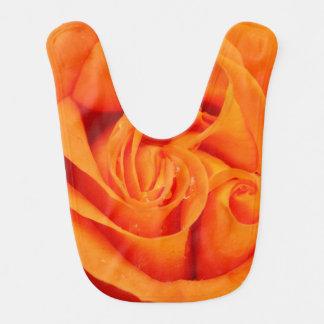 Orange rose flower baby bib