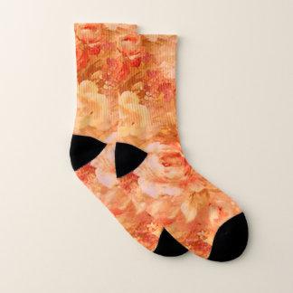 Orange Rose Flower Socks 1