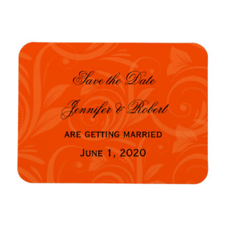 Orange Rose Graphic Wedding Save the Date Flexible Magnets