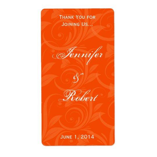 Orange Rose Graphic Wine Label