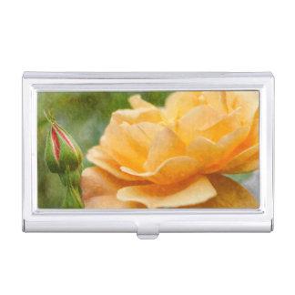 Orange Rose Painterly Business Card Holder