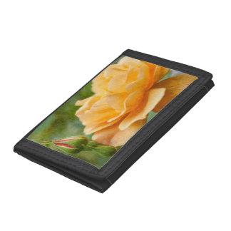 Orange Rose Painterly Tri-fold Wallet