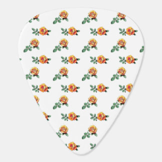 orange rose pattern guitar pick