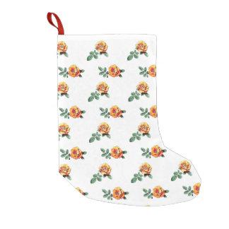 orange rose pattern small christmas stocking