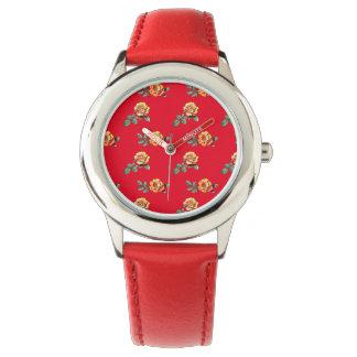 orange rose pattern watches