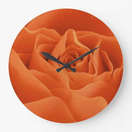 Orange Rose Petals Wallclock