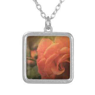 Orange Rose Silver Plated Necklace