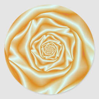 Orange Rose Spiral Classic Round Sticker