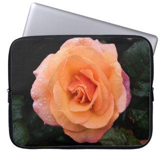 Orange Rose with Raindrops Laptop Sleeve