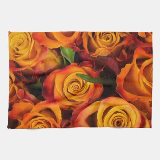 Orange Roses & Green Leaves Kitchen Towel
