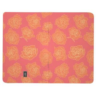 Orange roses on pink background journal