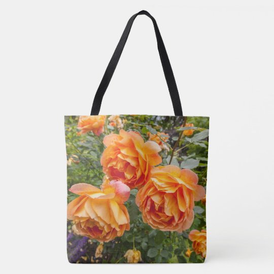 Orange roses, pretty tote bag