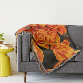 Orange Roses Throw Blanket