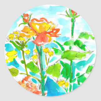 Orange Roses Yellow Wildflowers Classic Round Sticker