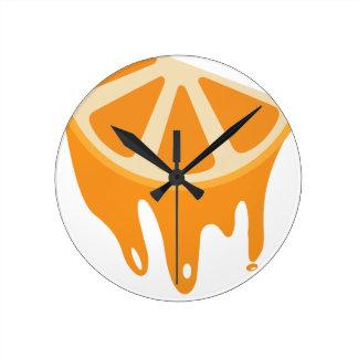 Orange Round Clock