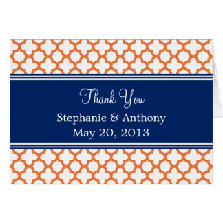 Orange, Royal Blue Quatrefoil  Wedding Thank You Card