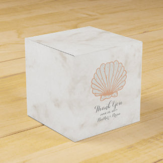 Orange Rustic Seashell Wedding Favor Box