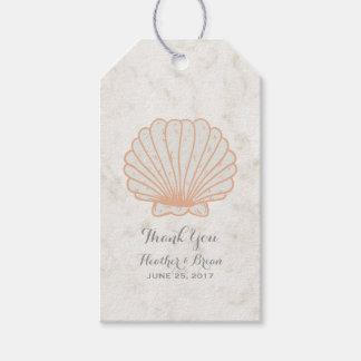 Orange Rustic Seashell Wedding Gift Tags