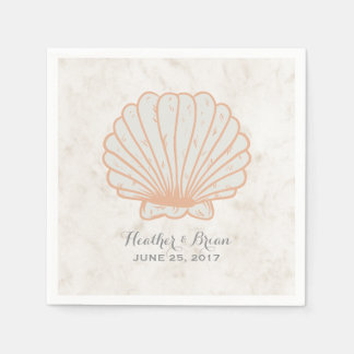 Orange Rustic Seashell Wedding Paper Napkin
