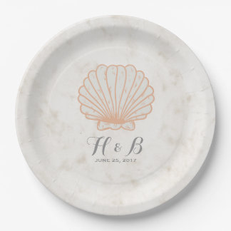 Orange Rustic Seashell Wedding Paper Plate