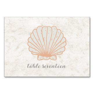 Orange Rustic Seashell Wedding Table Card