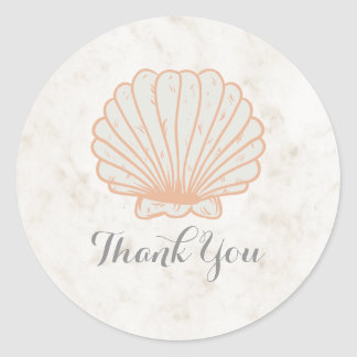 Orange Rustic Seashell Wedding Thank You Classic Round Sticker