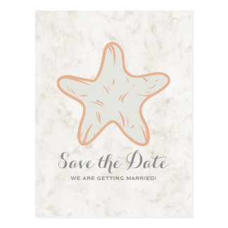 Orange Rustic Starfish Save the Date Postcard