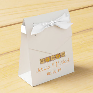 Orange Rustic Wildflower Favour Box