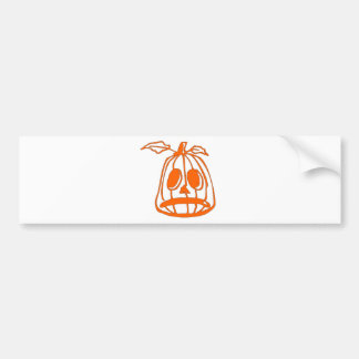 Orange Sad Pumpkin Face Bumper Sticker