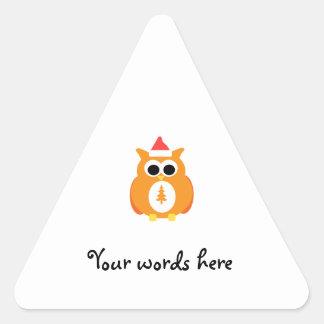 Orange santa owl triangle stickers