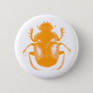 Orange Scarab Beetle Button