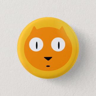 Orange Scaredy Cat 1 Inch Round Button