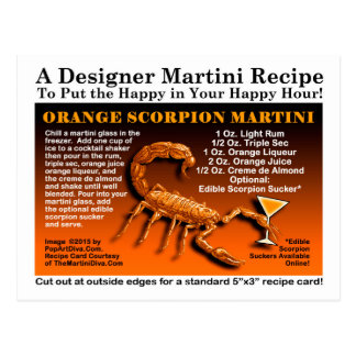 Orange Scorpion Halloween Martini Recipe Postcard