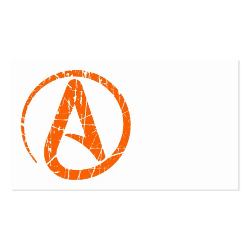 Orange Scratched and Worn Atheist Atheism Symbol Business Card
