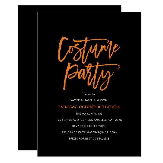 Orange Script Costume Party Invitation