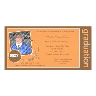 Orange Scroll Graduation Photo Invitation