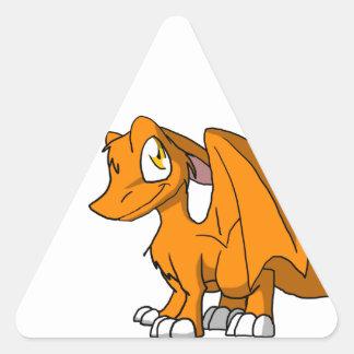 Orange SD Furry Dragon Triangle Sticker